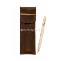 Чехол для ручек кожаный Орех (+эко-ручка и карандаш)