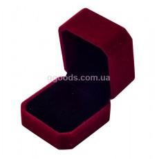 Бархатная коробочка для кольца бордовая