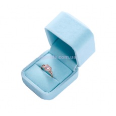 Бархатная коробочка для кольца голубая