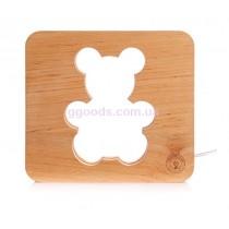 Ночник Мишка деревянный