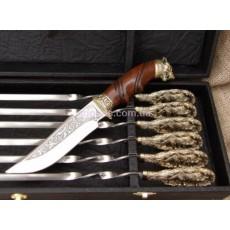 """Набор шампуров ручной работы с ножом в кейсе """"Волчья стая"""""""