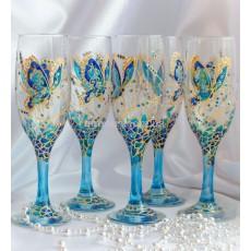 """Набор бокалов для шампанского """"Бабочки"""""""