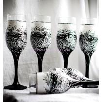 Набор бокалов для шампанского «Черно-белые»