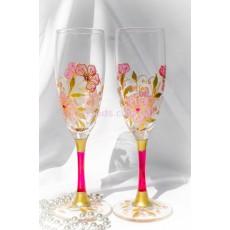 """Бокалы свадебные с подушечкой для колец """"Цветение"""""""