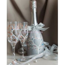 """Роспись свадебных бокалов и бутылки шампанского """"Дерево любви"""""""