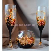 Бокалы для шампанского и подсвечник Розы