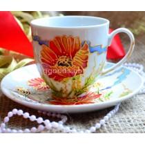 Чашка с блюдцем «Маки»