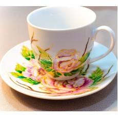 """Чашка с блюдцем с росписью """"Пионы"""""""