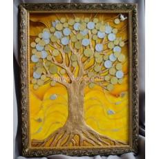 Картина панно «Денежное дерево желтое»