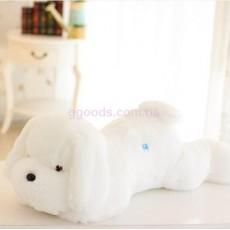 Плюшевая светящаяся собака белая