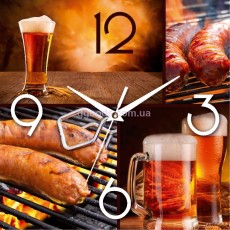"""Настенные часы """"Колбаски и пиво"""""""