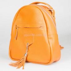 Женский кожаный рюкзак оранж