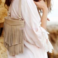 Женская кожаная сумка Крем-брюле