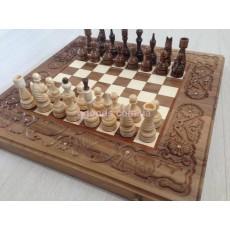 Шахматы-нарды ручной работы Львы