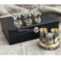 Подарочный набор рюмок Сила кабана в шкатулке кожзам