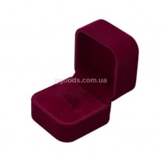 Бархатная коробочка для кольца бордо