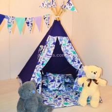 Детский шатер-вигвам Синий Динозавры