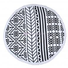 Пляжный коврик Мандала (черно-белый)