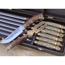 Набор шампуров Дикие звери с ножом и вилкой