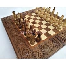 Шахматы, шашки, нарды деревянные Элегант