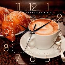 Часы для кухни Кофе и круассан