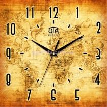 Настенные часы Карта мира ретро