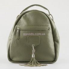 Кожаный женский рюкзак оливковый