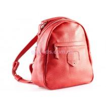 Кожаный рюкзак красный