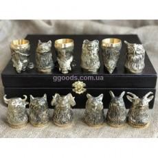 Рюмки подарочные литые Дикие звери 12 штук