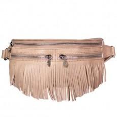 Кожаная сумка на пояс Спирит Крем-брюле