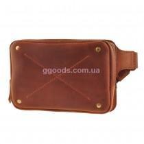 Кожаная поясная сумка коричневая