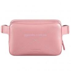Женская кожаная сумка на пояс розовая