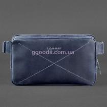 Кожаная поясная сумка Dropbag maxi синяя