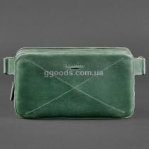 Сумка кожаная на пояс Dropbag maxi зеленая