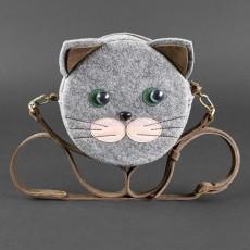 Детская сумка из фетра и кожи Котик (орех)