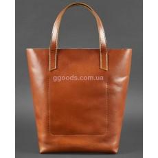 Кожаная сумка шоппер D.D. Коньяк