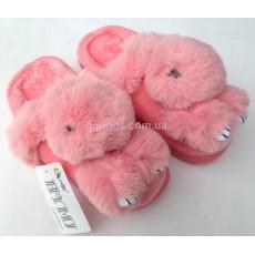 Меховые тапочки Зайчики розовые 35,5-37