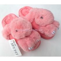 Меховые тапочки Зайчики розовые 37-38