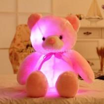 Светящийся плюшевый мишка розовый