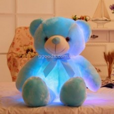 Светящийся плюшевый мишка голубой
