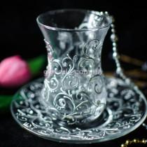 Армуды для чая Серебристые узоры 2 шт