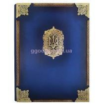 Папка Державная с латунными углами и трезубом синяя (кожа)
