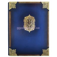 Папка кожаная Державная с латунными углами и трезубом
