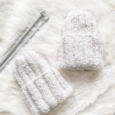 Женская вязаная шапка белая Basic mini