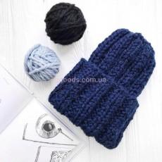 Вязаная шапка синяя Basic mini