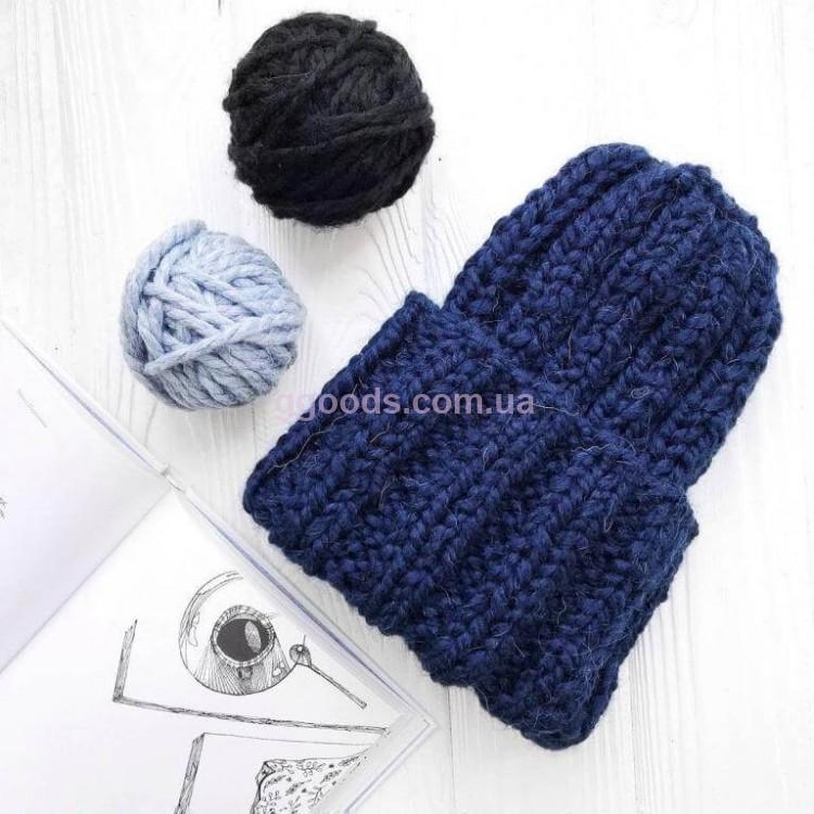 шапка вязаная женская синяя купить женские вязаные шапки ровно