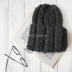 Вязаная шапка серая Basic mini