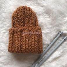 Вязаная шапка светло-коричневая Basic mini