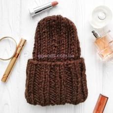 Коричневая вязаная шапка Basic mini