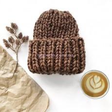 Зимняя вязаная шапка кофе с молоком Basic